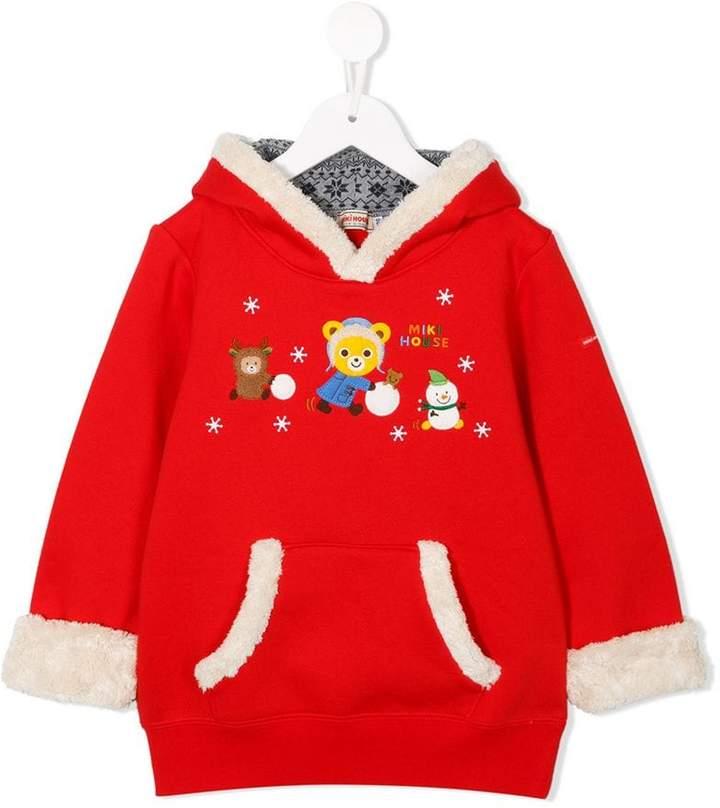 Miki House Teddy print hoodie