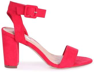 10c1c8026 Linzi MILLIE - Red Suede Open Toe Block Heel With Ankle Strap And Buckle  Detail