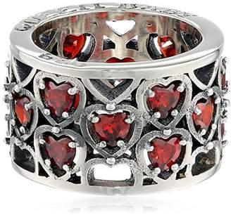 King Baby Studio Heart Patterned Garnet Stones Ring