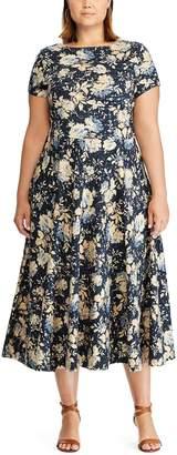 Chaps Plus Size Floral Midi Knit Dress