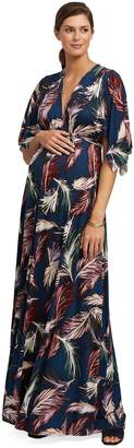 Maternity Long Caftan Dress - Feather Print,