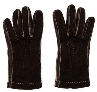 Loro Piana Leather-Trimmed Suede Gloves