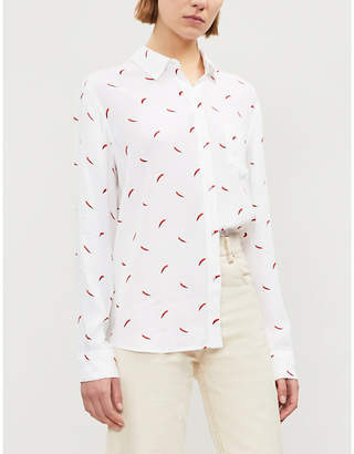 Rails Kate chilli-print crepe shirt