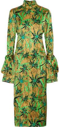 Marni Ryon Button-embellished Printed Satin Midi Dress - Green