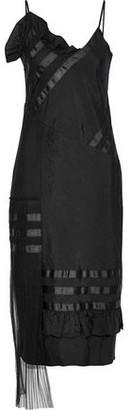 House of Holland Plisse Tulle-paneled Shell Midi Slip Dress