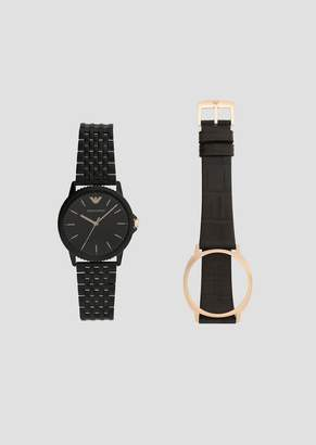 Emporio Armani Steel Watch With Interchangeable Leather And Steel Straps