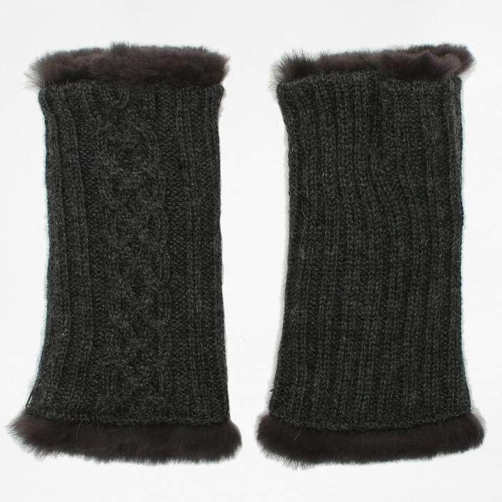 Victorie Grey Fur Lined Knitted Fingerless Mitts
