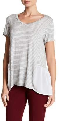 Bobeau Striped Woven Hem Shirt