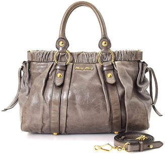 Miu Miu - Vintage Luxury Gathered Two Way Leather Satchel - Women's