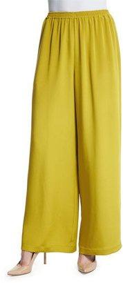 Eskandar Flare-Leg Silk Crepe Trousers, Dark Olive Oil $1,195 thestylecure.com
