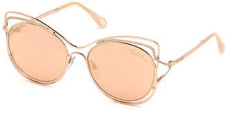Roberto Cavalli Crystal-Trim Mirrored Cat-Eye Sunglasses