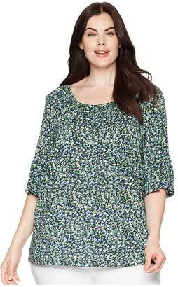 MICHAEL Michael Kors Size Tiny Wildflower Peasant Top Women's Short Sleeve Knit