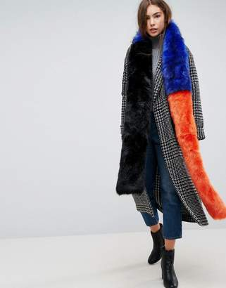 Urban Code Urbancode Extra Long Colourblock Faux Fur Scarf