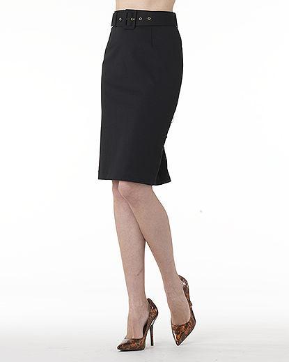 Newport News Signature Ponté Knit: Belted High-Waist Pencil Skirt