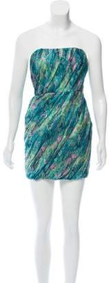Adam Strapless Silk Mini Dress Turquoise Strapless Silk Mini Dress