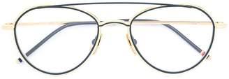 Thom Browne Eyewear Matte Navy & Yellow Gold Aviator Optical Glasses