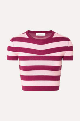 Gabriela Hearst Cropped Striped Wool And Cashmere-blend Top - Blush