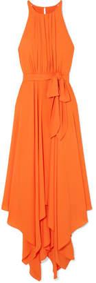 Halston Tie-front Georgette Midi Dress - Orange