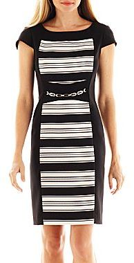 JCPenney Danny and Nicole® Striped Inset Belted Dress