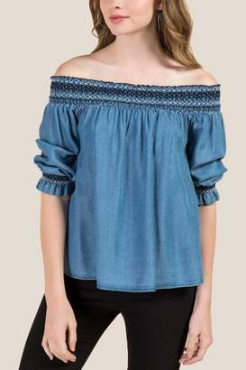 francesca's Arabella Off The Shoulder Tencel Blouse - Medium Wash