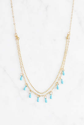 Delicate Mulit Layer with Turquoise Drop Necklace