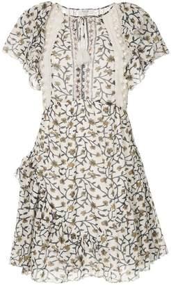 Sea ruffle sleeve crochet trim empire dress