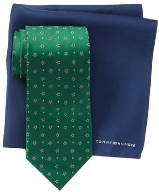 Tommy Hilfiger Silk Star Dot Tie & Solid Pocket Square Set