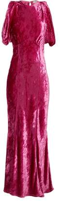 ATTICO Draped Short Sleeved Ruched Velvet Dress - Womens - Fuchsia