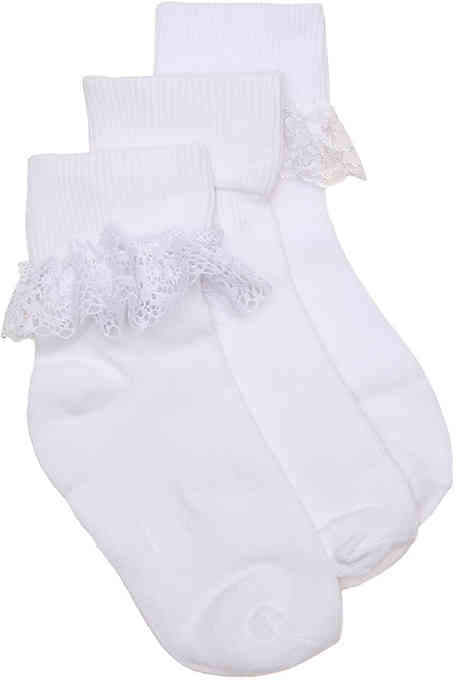 Trimfit Turn Cuff Lace Infant, Toddler & Youth Ankle Socks - 3 Pack - Girl's