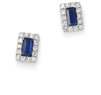 KC Designs 14K White Gold Mosaic Sapphire Baguette & Diamond Stud Earrings