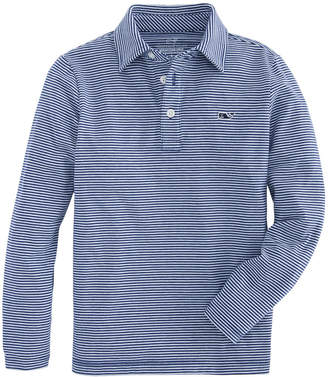 Vineyard Vines Boys Long-Sleeve Color to White Striped Edgartown Polo