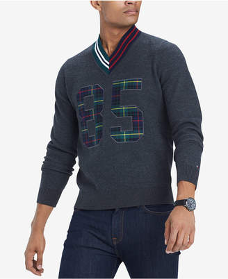 Tommy Hilfiger Men Payne Plaid Applique V-Neck Wool Cricket Sweater