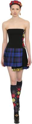 Versace Pleated Plaid Stretch Wool Dress