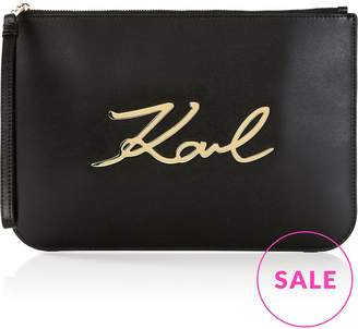 Karl Lagerfeld K/Signature Leather Pouch Bag