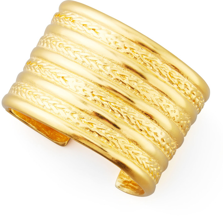Kenneth Jay Lane Braided Gold-Plate Cuff Bracelet