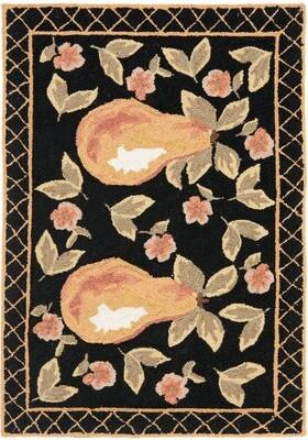 Fleur De Lis Living Brayton Hand-Hooked Wool Black Area Rug Fleur De Lis Living
