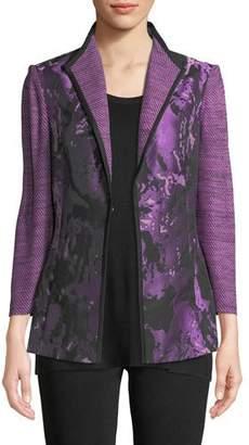 Misook Mixed Media 3/4-Sleeve Jacquard Jacket
