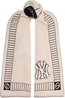 Gucci Appliquéd Intarsia Wool Scarf - Ivory