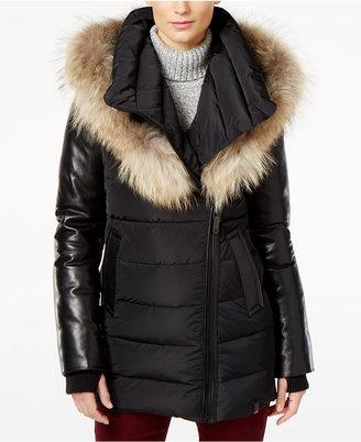 Rudsak Roya Asiatic Raccoon-Fur-Trim Asymmetrical Down Coat $895 thestylecure.com