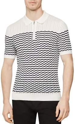 af6b1dca Reiss McAndrew Broken-Stripe Slim Fit Half-Zip Polo Shirt