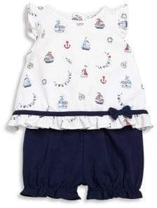 Kissy Kissy Baby's Seven Seas Two-Piece Nautical-Print Flutter Top& Shorts Set
