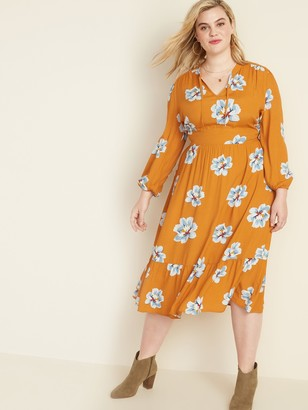 Old Navy Waist-Defined Floral-Print Tie-Neck Plus-Size Midi