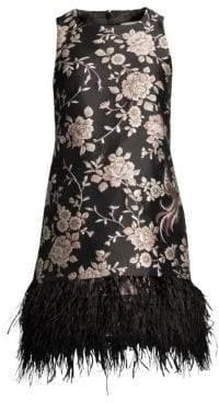 Kate Spade Madison Avenue Pamella Chinoiserie Feather-Hem Dress