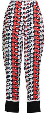 Victoria Victoria Beckham Printed Silk-Twill Tapered Pants
