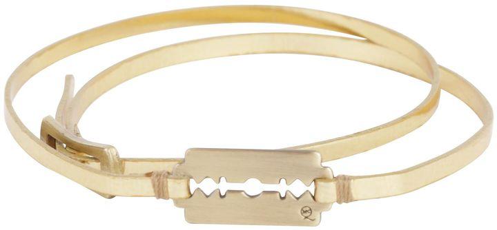 Gold Metallic Razor Double Wrap Bracelet