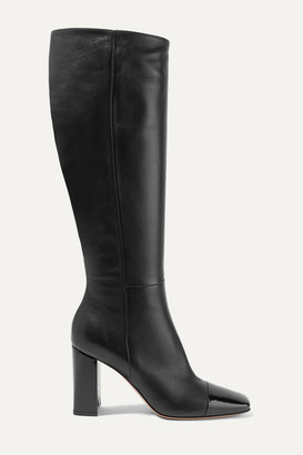 Gianvito Rossi 85 Smooth And Patent-leather Knee Boots - Black
