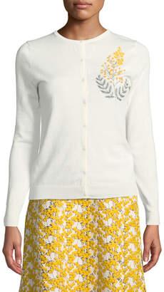 Zac Posen Cashmere Silk Button-Front Embroidered Cardigan