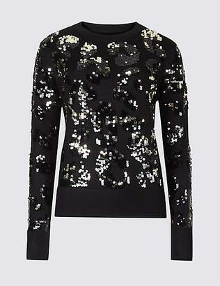 Per Una Animal Print Sequined Jumper