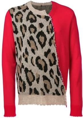 R 13 leopard knit sweater