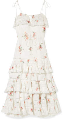 Zimmermann Heathers Lace-trimmed Tiered Pintucked Floral-print Cotton-voile Dress - White